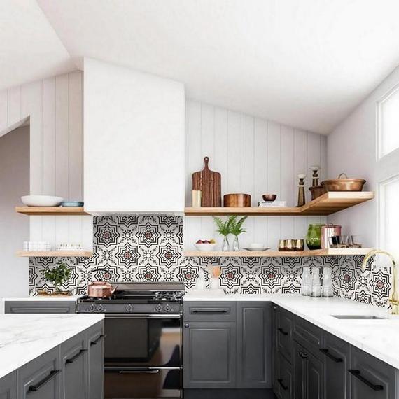 Kitchen And Bathroom Splashback Removable Vinyl Wallpaper Kabbalah Black Peel Stick Bathroom Splashback Kitchen Splashback
