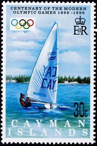 Stamp: Sailing (Cayman Islands) (Cent. Of Modern Olympic Games) Mi:KY 754,Sn:KY 720