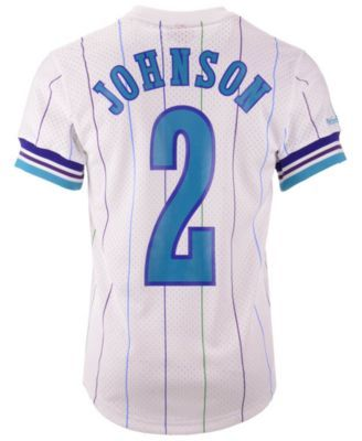 54250c7ac Mitchell   Ness Men s Larry Johnson Charlotte Hornets Name and Number Mesh  Crewneck Jersey - White S