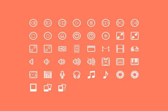 43 Glyphs for media related interface design