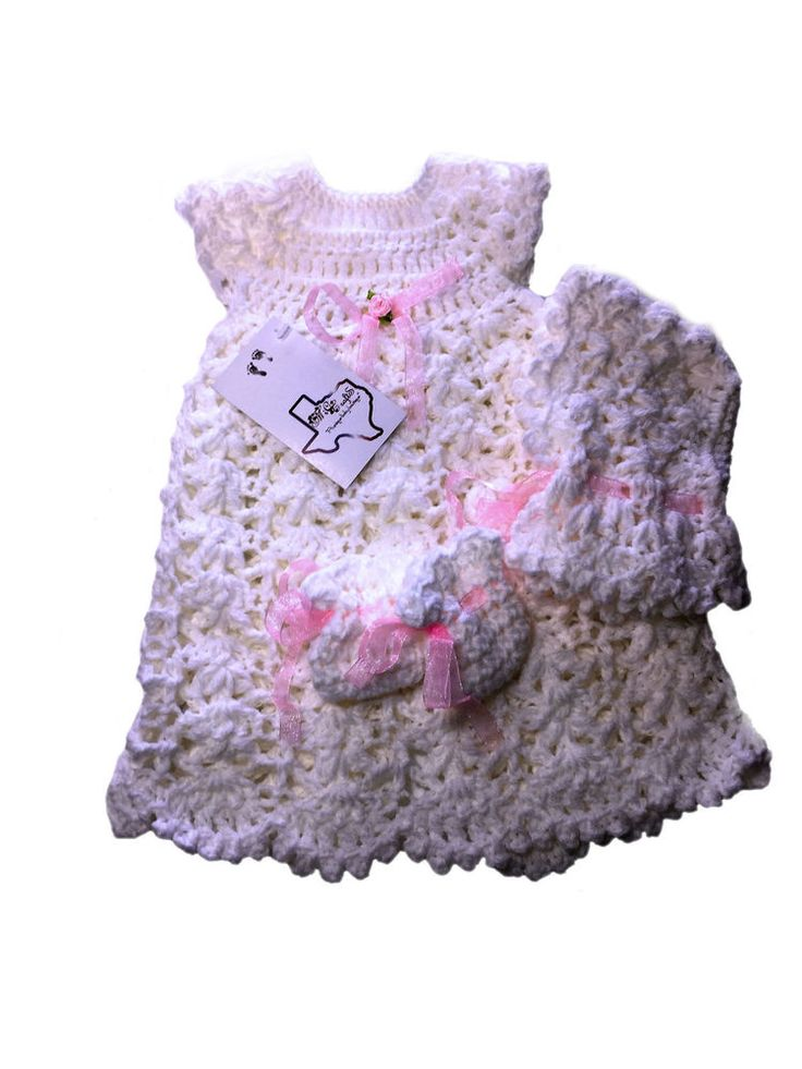 MiC Crafts Handmade Crochet Micro Preemie Gown Bonnet and Shoes White  | eBay
