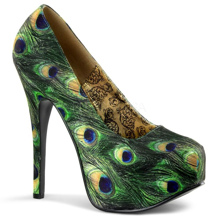 Teeze 06-5 Green Peacock Fabric Concealed Platform Court Shoes with 5 3/4 Inch Stiletto Heel