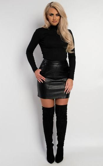 5c2e452faf Carra Open Back Bodysuit with leather skirt and thigh boots #Highheelboots