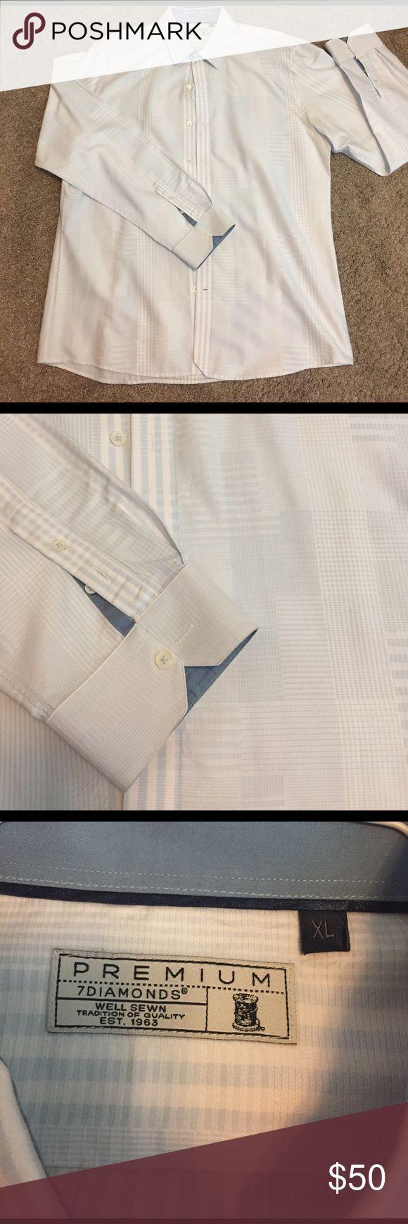7 Diamonds Premium Men's Shirt Size: XL. 7 Diamonds Premium men's dress shirt. Worn a couple times. No stains or spots. White and light blue pattern. 7 Diamonds Shirts Dress Shirts