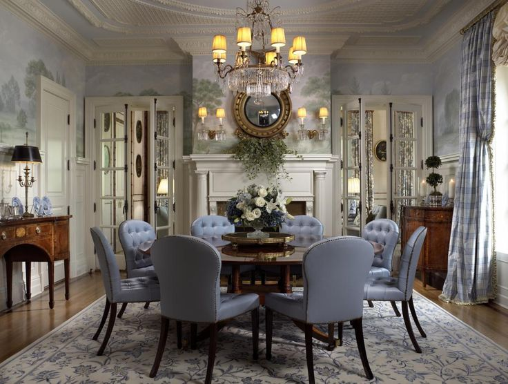 luxurius gray themed dining room inspirations with beautiful wall painting decorating ideas and luxury chandelier lighting also simple dark brown wood - Traditional Dining Table Centerpiece