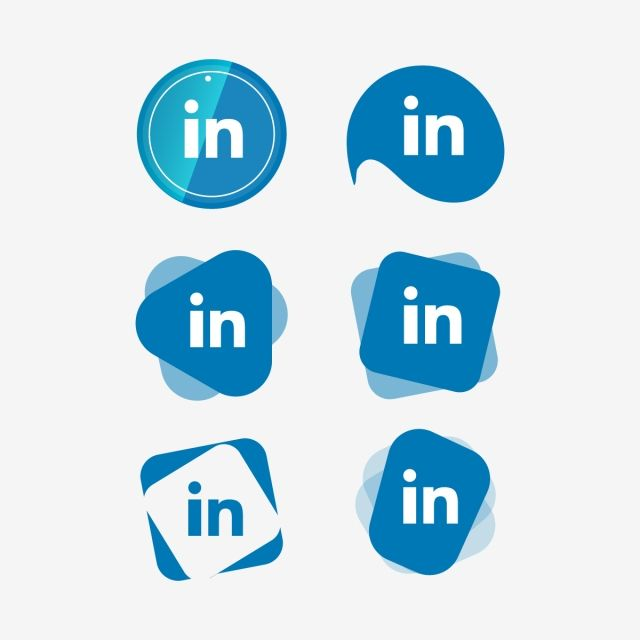 Linkedin Linked In Icon Logo Collection Set Social Media
