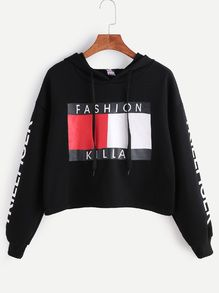 Black Letter Print Drop Shoulder Hooded Crop Sweatshirt