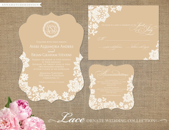 Ornate Die-Cut Lace Wedding Collection - Wedding Invitation, Reply Card or Postcard, Enclosure Card - FAST & FREE SHIPPING
