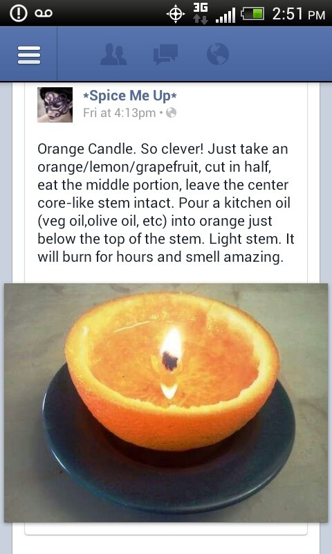 This is so cool! Oil/orange candle