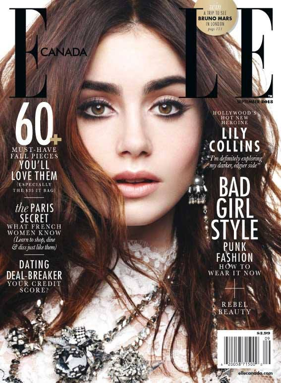 Lily Collins - Elle Magazine Cover [Canada] (September 2013)
