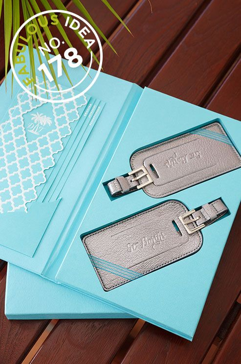 Fabulous Idea No.178: Prep your guests for their upcoming travels to your destination wedding with fabulous personalized luggage tags!