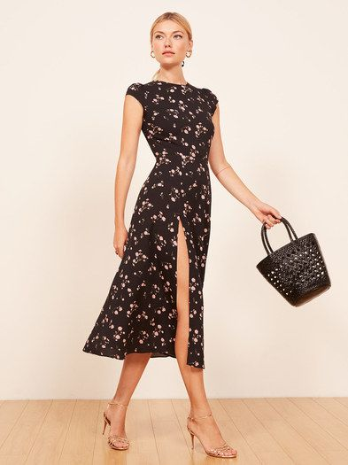 1794888dc4c86 Compliments - a common side effect of wearing Reformation. This is a midi  length dress with a high slit, a back cut out and cap sleeves.