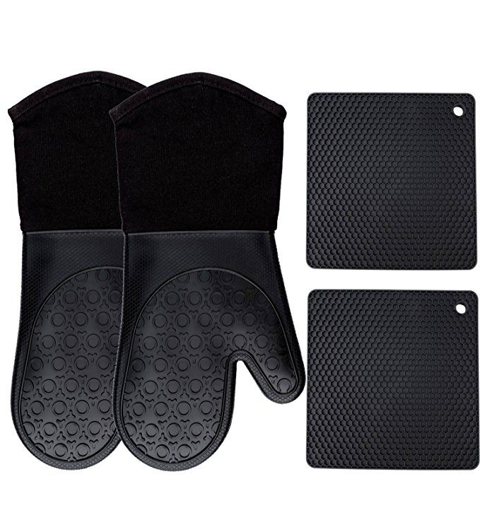 For Kim Amazon Com Silicone Oven Mitts And Potholders 4 Piece Set Heavy Duty Cooking Gloves Kitchen Counter S Silicone Oven Mitt Oven Mitts Cooking Gloves