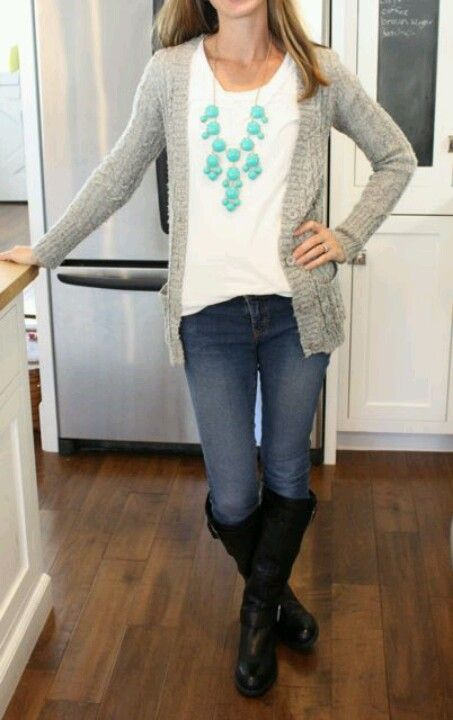 Gray Cardigan with white shirt,  jeans, black boots, bubble necklace