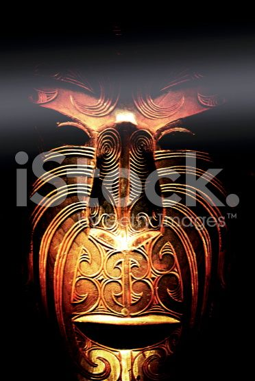 Maori Carved Mask Instagram royalty-free stock photo