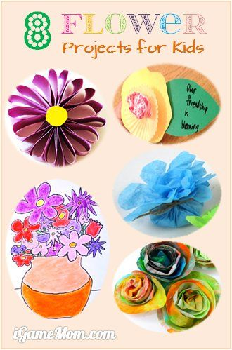 8 Easy Flower Art Craft Projects for Kids - great for Mother's Day Gift or Year End Gift for teachers.