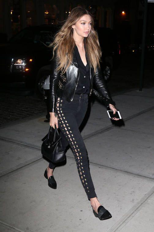 Gigi Hadidin pillifarkut ja nahkatakki -tyyli on mallien vapaa-ajan univormu.