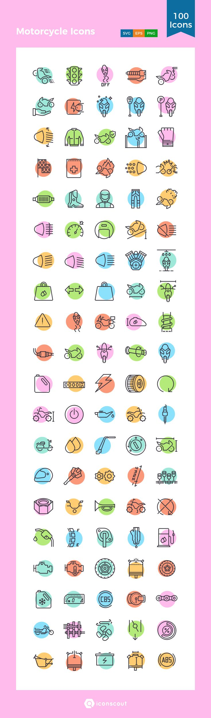 Motorcycle Icons  Icon Pack - 100 Line Icons