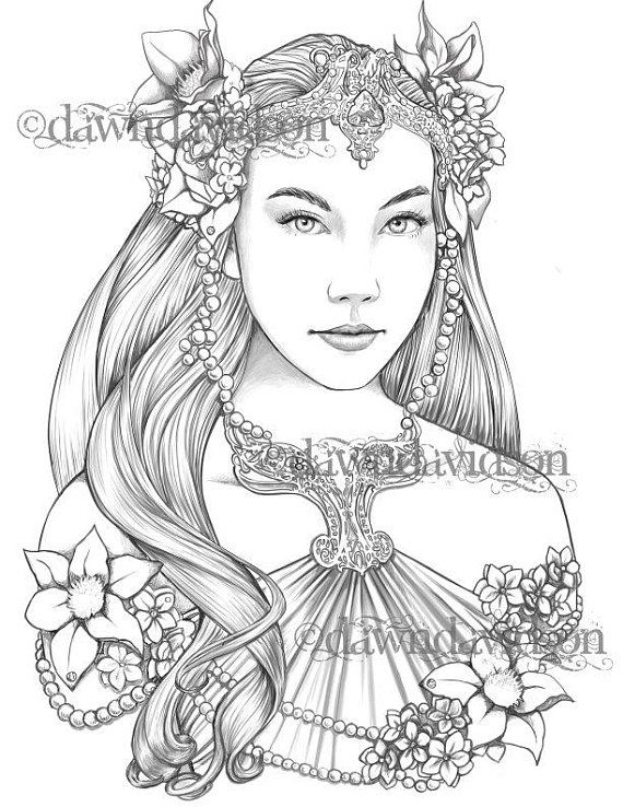 Queen Of The Elves Coloring Page Printable Colouring For Adults Instant Download Grayscale Coloring Fantasy Stress Relief Grayscale Coloring Coloring Pages Fairy Coloring Pages
