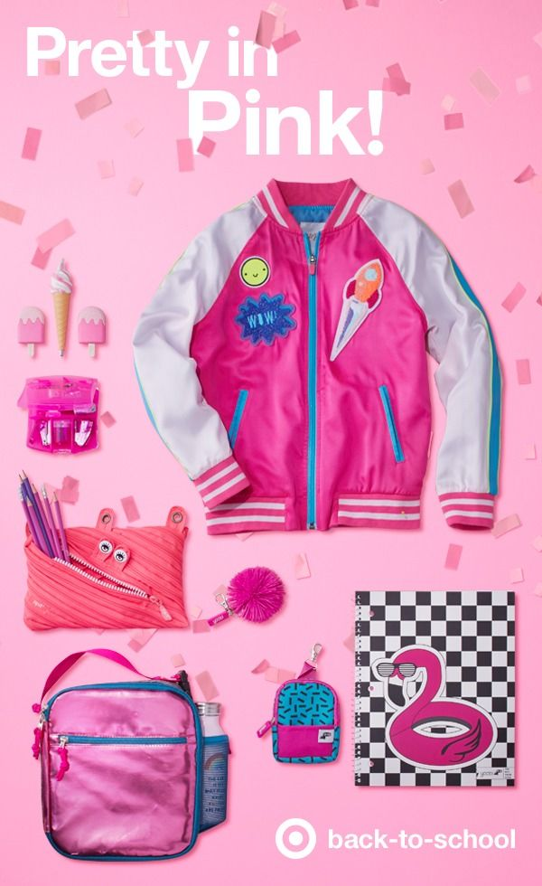 Nothing energizes a look like electric pink. From this Cat & Jack bomber jacket with pink-stripe trim, to school supplies like a pink ice cream pen (!!!) to notebooks and up&up scissors, pops of color keep things exciting. Even bags & backpacks can get in on the act - check out this Yoobi supply kit and pink sprinkles mini-backpack. Ready to make back-to-school the most fun ever? Think pink!