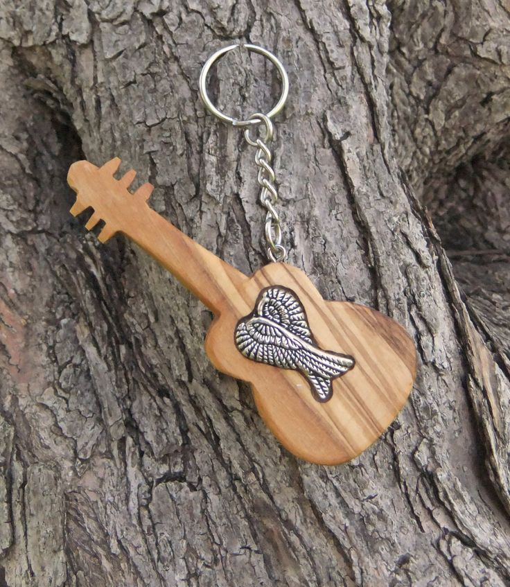Hand carved Greek Olive Wood  key chain guitar inlaid with angel wings by ellenisworkshop on Etsy
