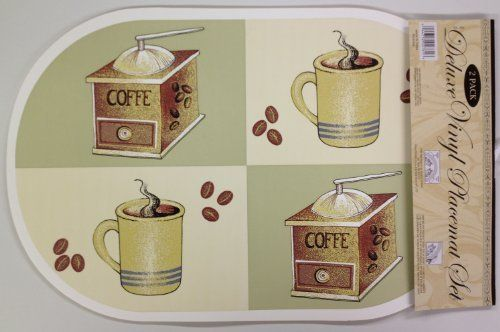 "SET OF 6 EXPANDED VINYL PLACEMATS COFFEE by Better Home. $6.97. 100% PVC Expanded Vinyl. Easily wipe clean. Each placemat measures approximately 12"" x 18"". Each placemat measures approximately 12"" x 18"". Save 36%!"