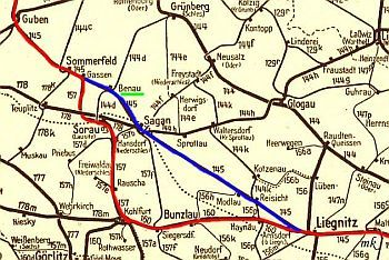 Przedwojenna sieć kolejowa okolic Benau.