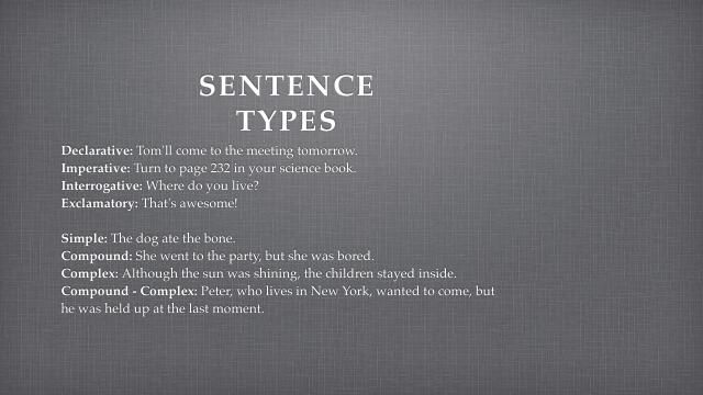 Sentence types in English include declarative, imperative, interrogative, and exclamatory, simple, compound, complex, and compound-complex sentences.