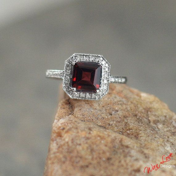 Garnet Diamond Antique filigree ring by WanLoveDesigns on Etsy, $395.00