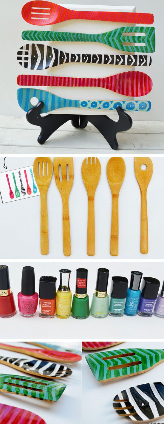 Jazz up your kitchen décor with a display of uniquely painted wooden spoons. Who knew nail polish and wooden spoons made such a great team? (Note: Painted spoons are for display purposes only.)