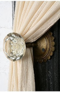 Door knob pull backs for drapes.