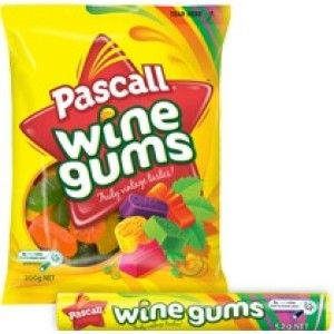 A box of 12 bags of Pascall Wine Gums. Each bag weighs approximately 200 grams.
