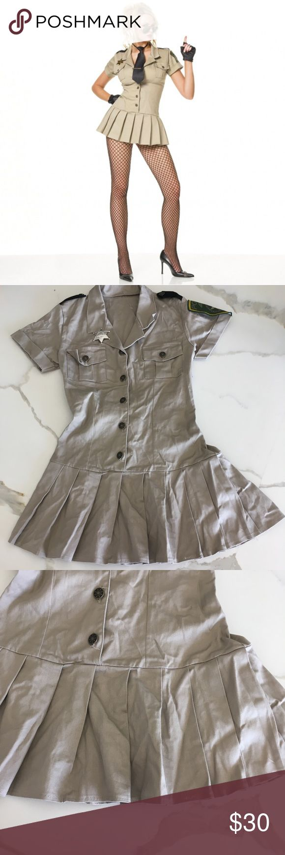 SHERIFF COSTUME ~ COP COSTUME ~ Halloween dress LEG AVENUE ~   Leg avenue brand  Halloween dress  Beige tan color  Mini dress  Sexy style  Pleated skirt  Button front closure  Silver sheriff badge on front  Size small  Sheriff costume  Halloween costume  Cop costume  Pristine condition  Worn only once  No packaging  *dress only leg avenue Dresses Mini