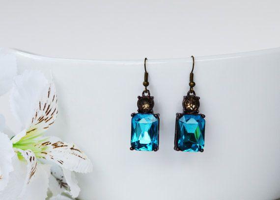 SALE Aquamarine Blue Crystal Glass Octagon by EllaHandmadeUnuque