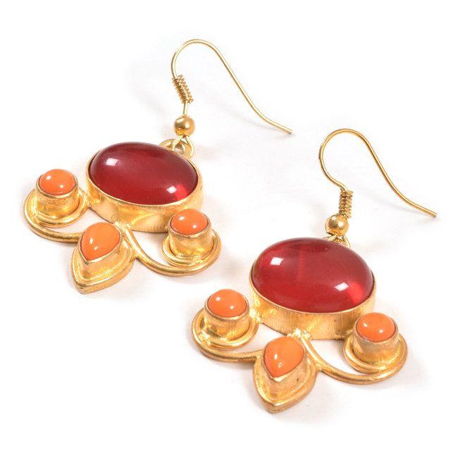 JJade Hand Crafted Mix Tristone Drop Earrings 10008770 - profile - AVISHYA.COM