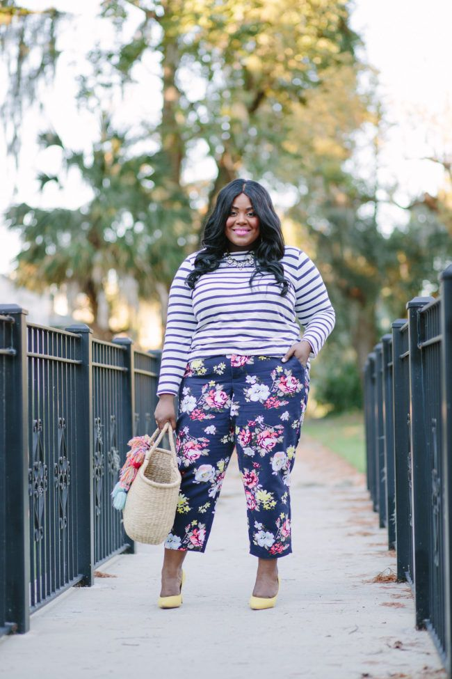Musings of a Curvy Lady, Plus Size Fashion, Fashion Blogger, Old Navy, Old Navy Plus sizes, Floral Print Pants, Striped Tee, Nine West, Fall Fashion, Women's Fashion