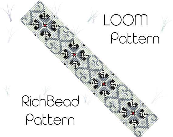 Bead loom patterns Beaded bracelet pattern Weaving pattern