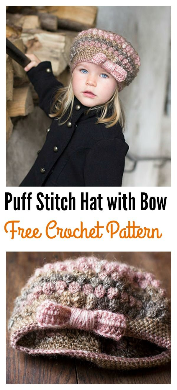 Crochet Puff Stitch Hat with Bow Free Pattern