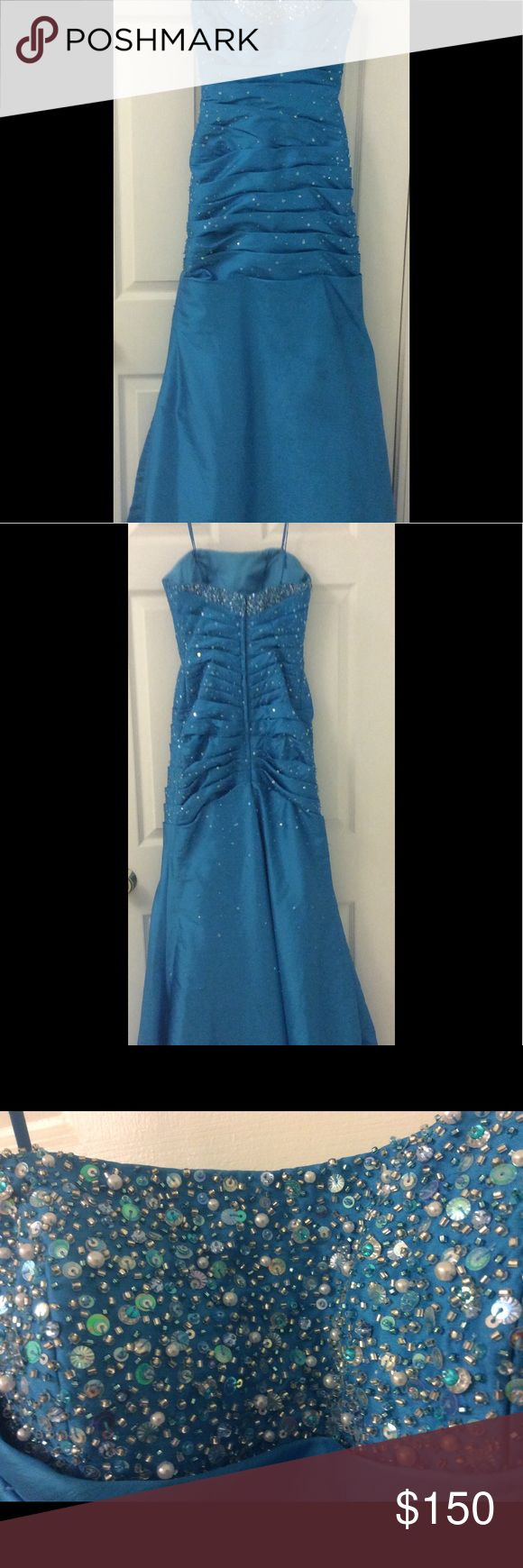 Beautiful Mori Lee prom or pageant dress By Madeline Gardner.  Beautiful blue strapless (can also be worn with the straps) pageant/prom dress, size 3/4, worn once. Mori Lee Dresses Prom