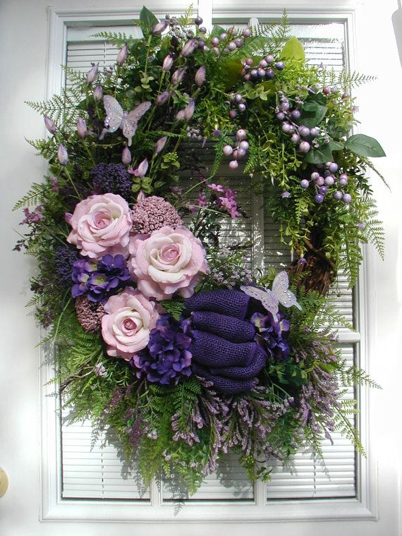 Spring wreath summer wreath purple pink roses queen ann 39 s Spring flower arrangements for front door