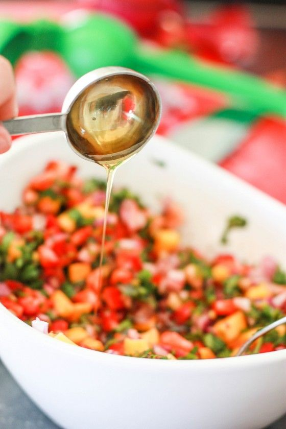 Strawberry Mango Salsa - Perfect for Summer BBQ. Put on fish tacos or burgers. Yum!