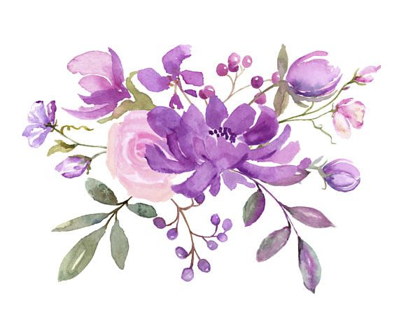 Fresh Springtime Flowers In Purple Pink And Lavender Watercolor Collection Wedding Clip Art Watercolor Clipart For Diy Invitations Flower Drawing Floral Watercolor Watercolor Flowers