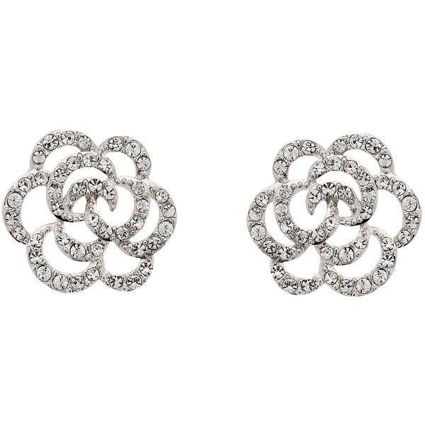 Finesse Swarovski Crystal Flower Stud Earrings, Rhodium found on Polyvore