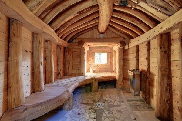 Outdoor sauna interior