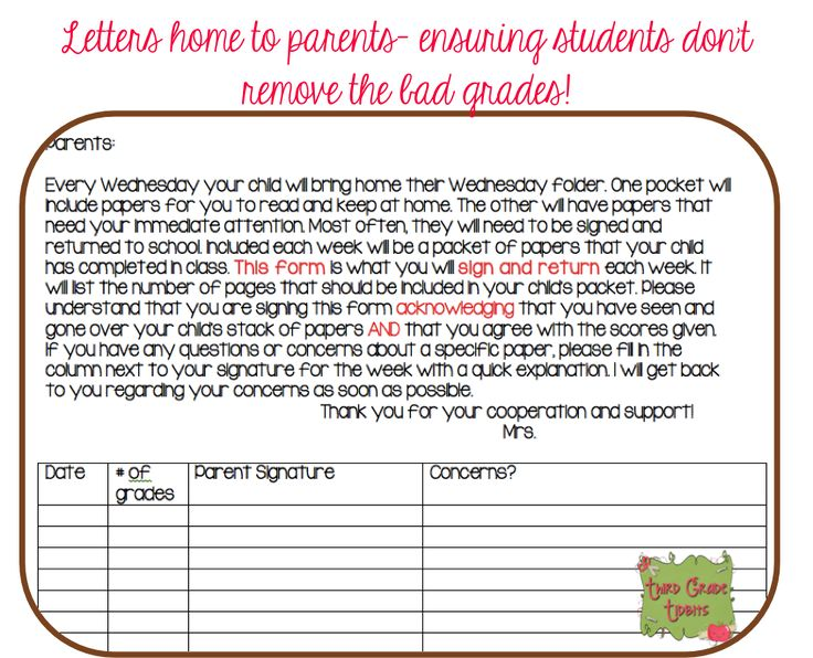 Weekly letter: Teacher writes the total # of graded papers being sent home and parents sign the form.
