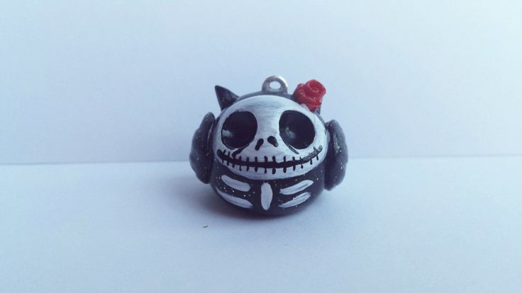 Polymer clay nightmare before Christmas owl necklace,  Jack Skellington inspired necklace. by ProjectPinkPanda on Etsy