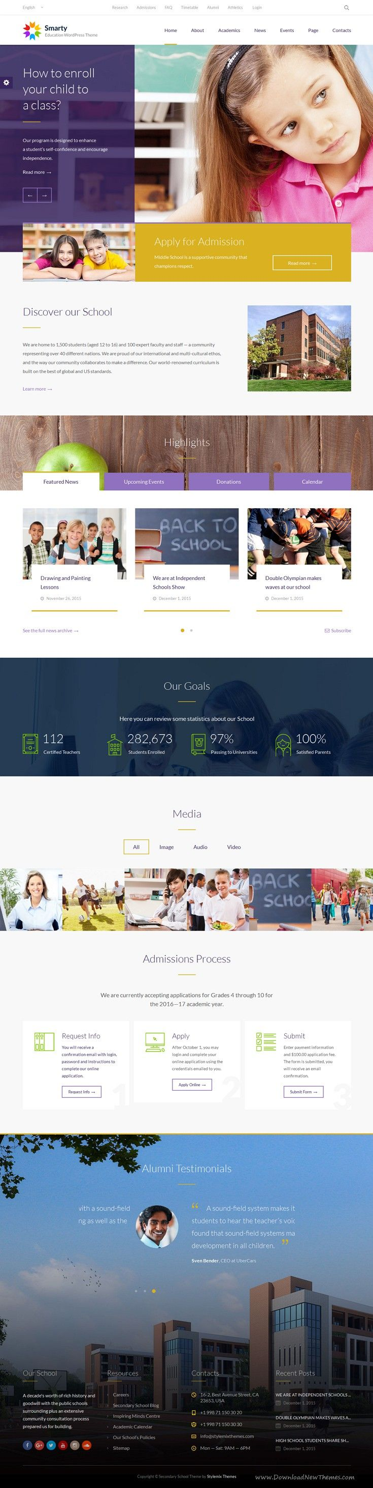 Smarty is Ultimate Education WordPress #Theme for your Elementary or Secondary #School, Learning Center, #College or University #website. Download Now!