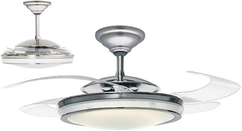 replacement for the kitchen chandelier - the blades retract when it's not in use!  how cool (groan) is that?