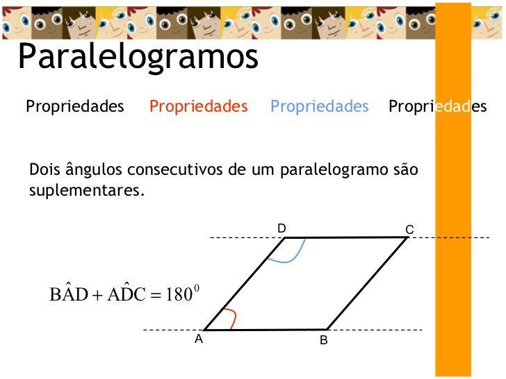 Paralelogramos Dois ângulos consecutivos de um paralelogramo são suplementares. Propri edad es Propriedades Propriedades P...