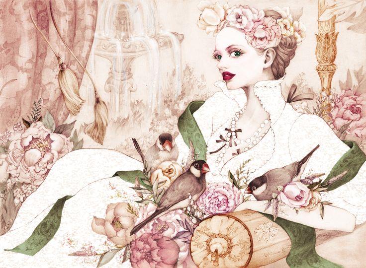 """""""paddybirds""""  Illust for vintage dress shop"""